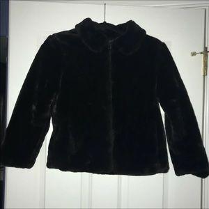 Girls GAP Black Faux Fur Jacket